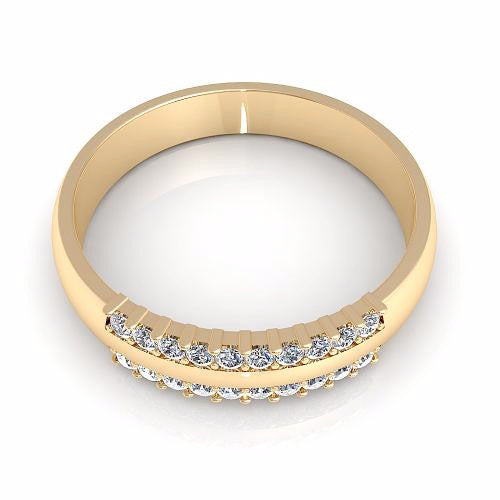 0.25CT TW Round Cut Diamond Wedding Band 18K Gold