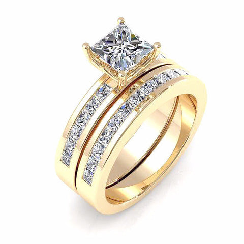 Princess Cut Diamond Bridal Set 18K Gold