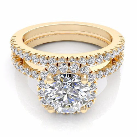 Round Cut Diamond Bridal Set 18K Gold