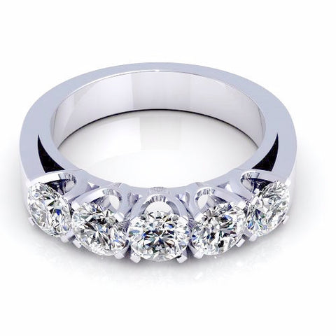 1.05CT TW Round Cut Diamond Wedding Band 18K Gold