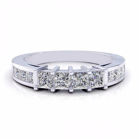 0.70CT TW Princess Diamond Band 18K Gold