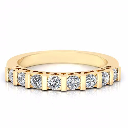 0.48CT TW Round Cut Diamond Wedding Band 18K Gold
