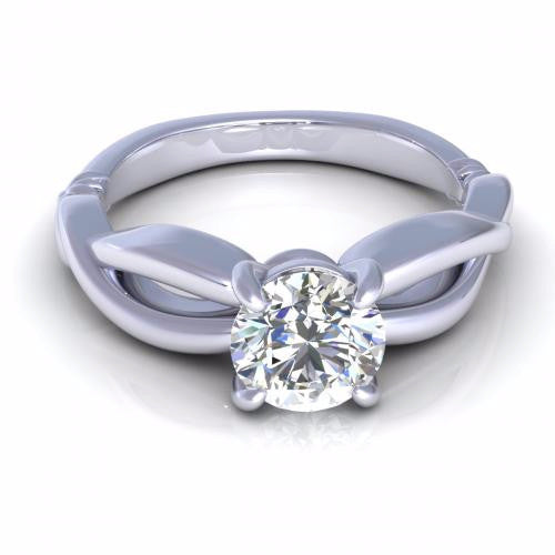 Round Cut Diamond Infinity Solitaire Ring 18K White Gold