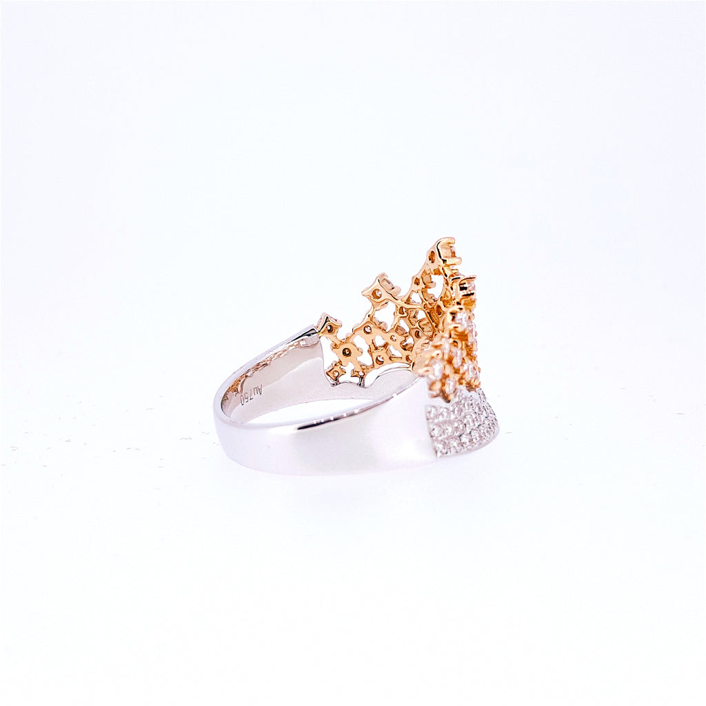 Crown Diamond Two-tone Ring 18K White & Rose Gold