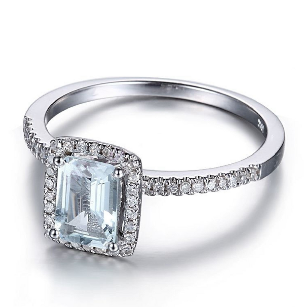 Modern Classic Halo Custom Aquamarine 14K White Gold Ring