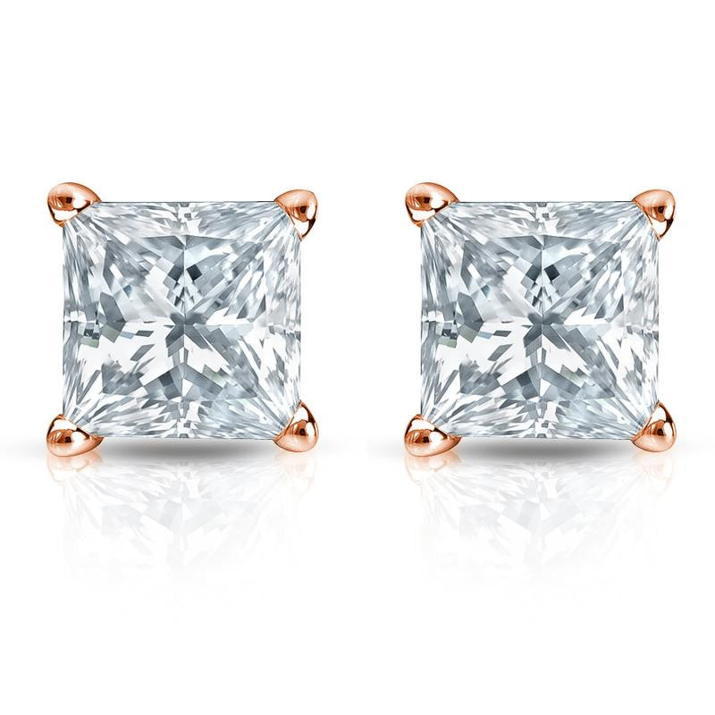 Princess Cut Diamond Stud Earrings 18K Rose Gold