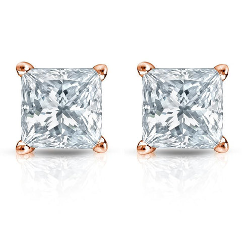 G/VS2 Princess Cut Diamond Stud Earrings 18K Rose Gold