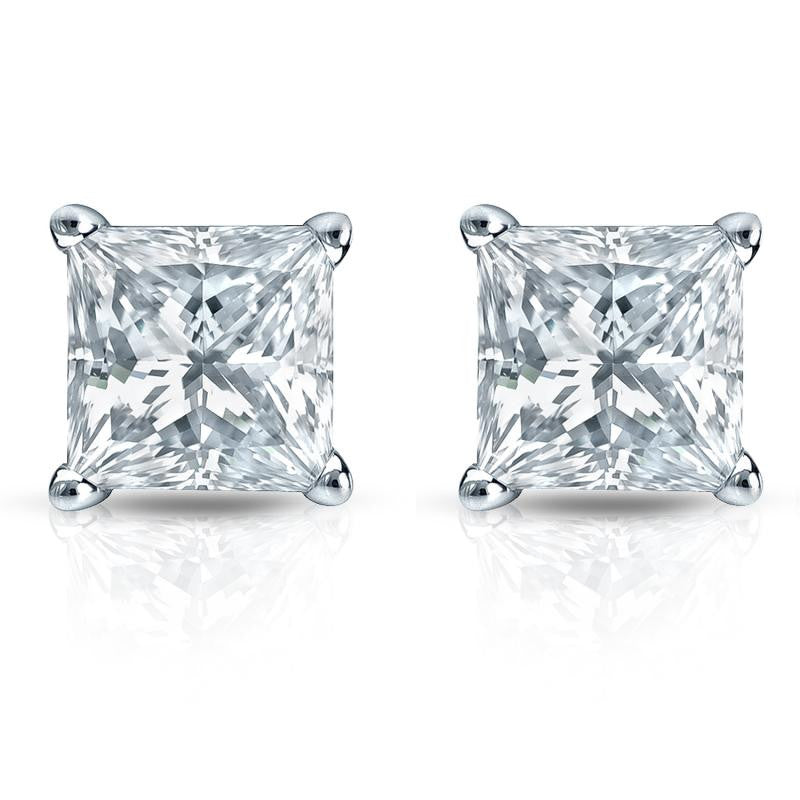 G/VS2 Princess Cut Diamond Stud Earrings 18K White Gold