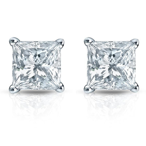 Princess Cut Diamond Stud Earrings 18K White Gold