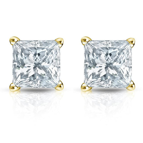 G/VS2 Princess Cut Diamond Stud Earrings 18K Yellow Gold