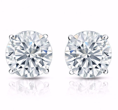 G/VS2 Round Cut Diamond Stud Earrings 18K White Gold