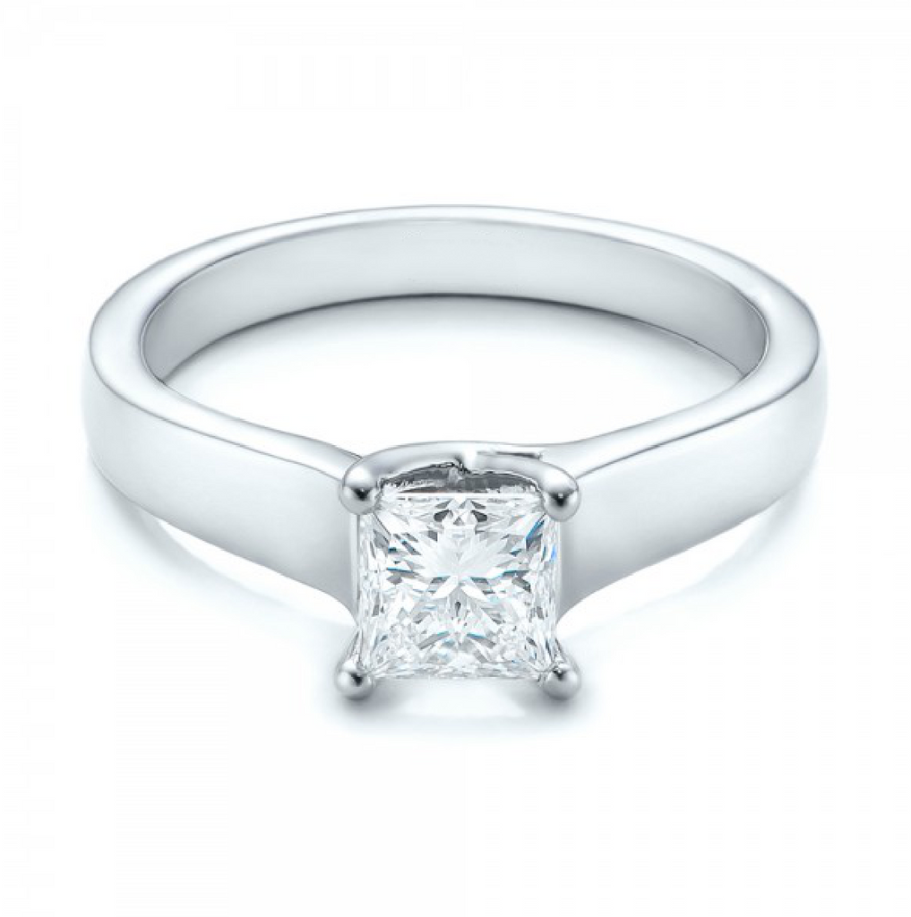 Princess Cut Diamond Solitaire Ring 18K White Gold