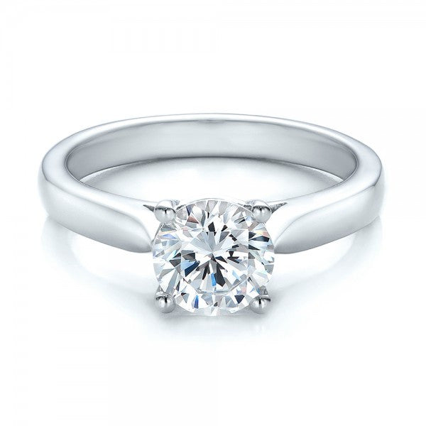 Round Cut Diamond Solitaire Ring 18K White Gold