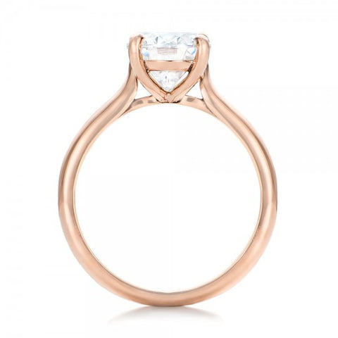 Oval Cut Diamond Solitaire Ring 18K Rose Gold