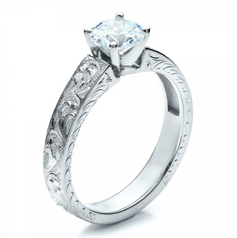 Round Cut Diamond Solitaire Vintage Ring 18K White Gold