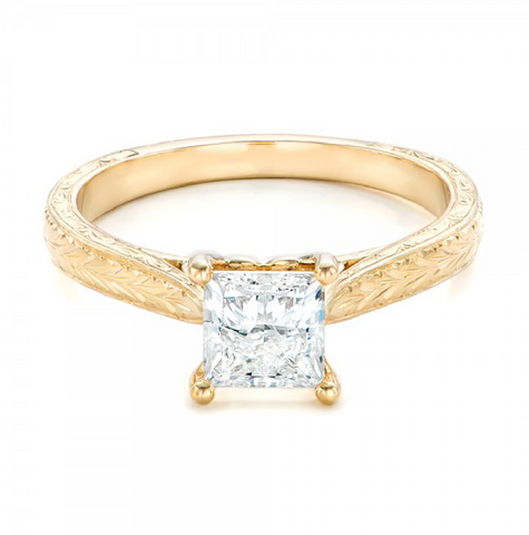 Princess Cut Diamond Solitaire Vintage Ring 18K Yellow Gold