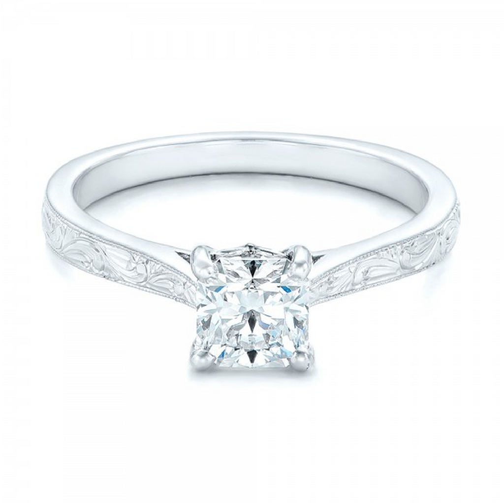 Princess Cut Diamond Solitaire Vintage Ring 18K White Gold