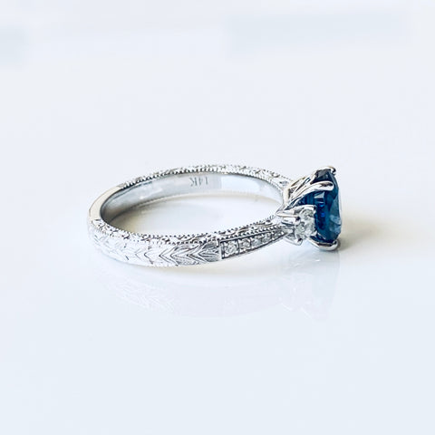 ceylon+royal+blue+sapphire+vintage+engagement+ring+white+gold+online+australia