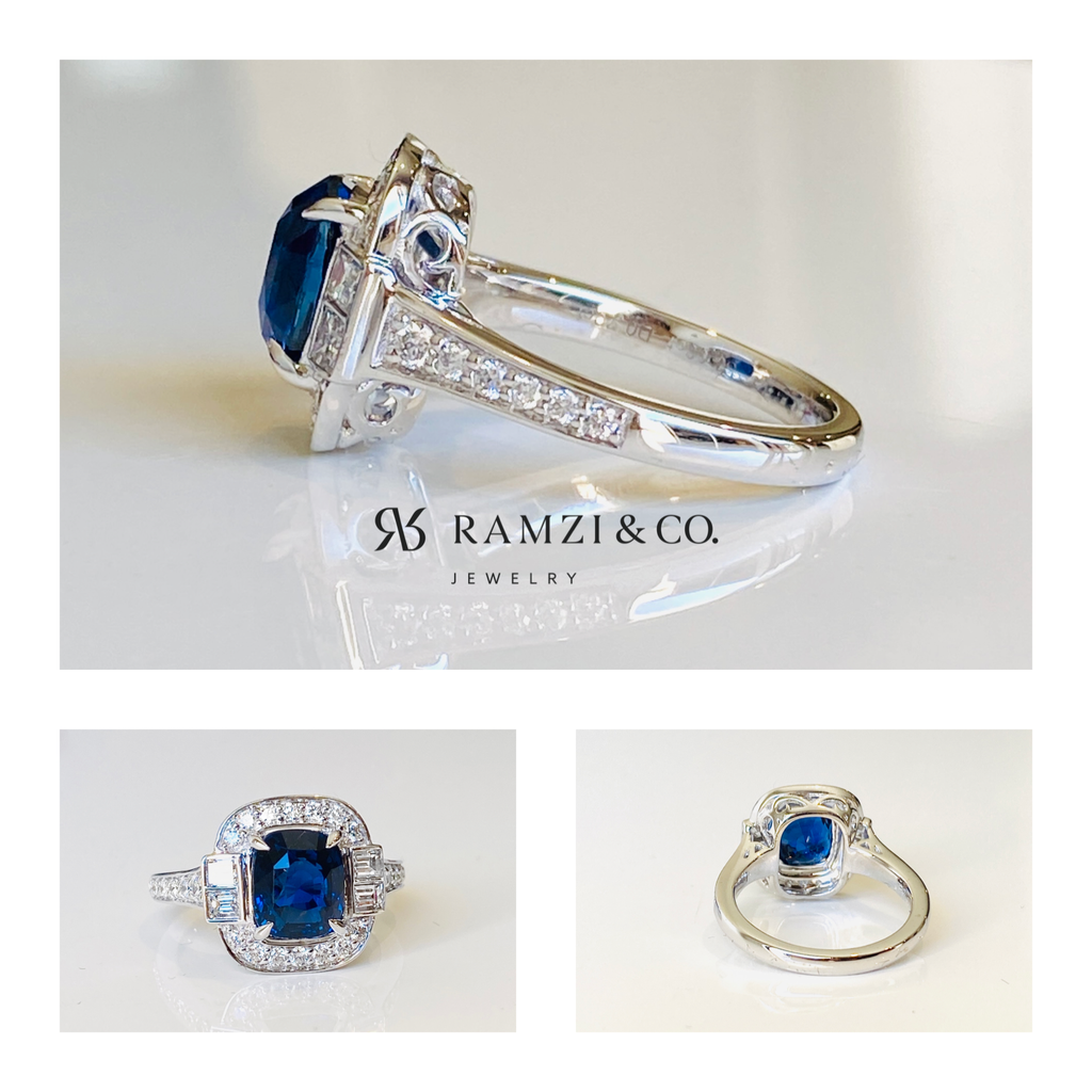 SOLD - Certified 3.03CT Cushion Cut Royal Blue Sapphire Diamond Ring 18K White Gold