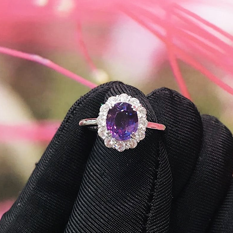 Certified 2.05CT Oval Cut Natural Heated Purple Sapphire Diamond Ring 18K White Gold