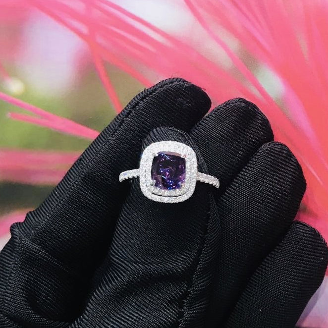 Certified 2.16CT Cushion Cut Natural Unheated Purple Sapphire Diamond Ring 18K White Gold