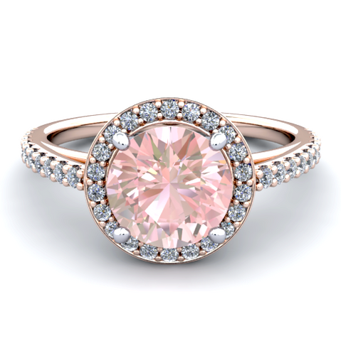 Natural Morganite Diamond Ring 18K Rose Gold
