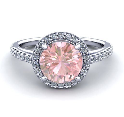 Natural Morganite Diamond Ring 18K White Gold