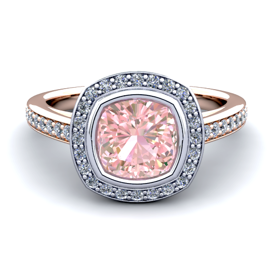 Natural Morganite Diamond Ring 18K Two-tone Gold