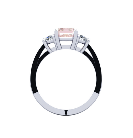 Morganite Diamond Ring 18K White Gold
