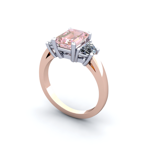 Morganite Diamond Ring 18K White & Rose Gold