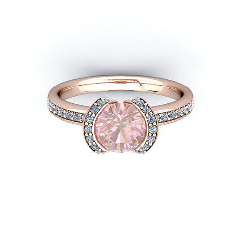 Natural Morganite Diamond Ring 14K Rose Gold