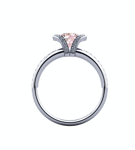 Natural Morganite Diamond Ring 14K White Gold