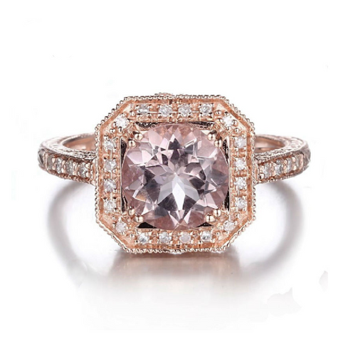Art Deco Custom Morganite 14K Rose Gold Ring