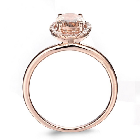 Modern Classic Halo Custom Morganite 14K Rose Gold Ring