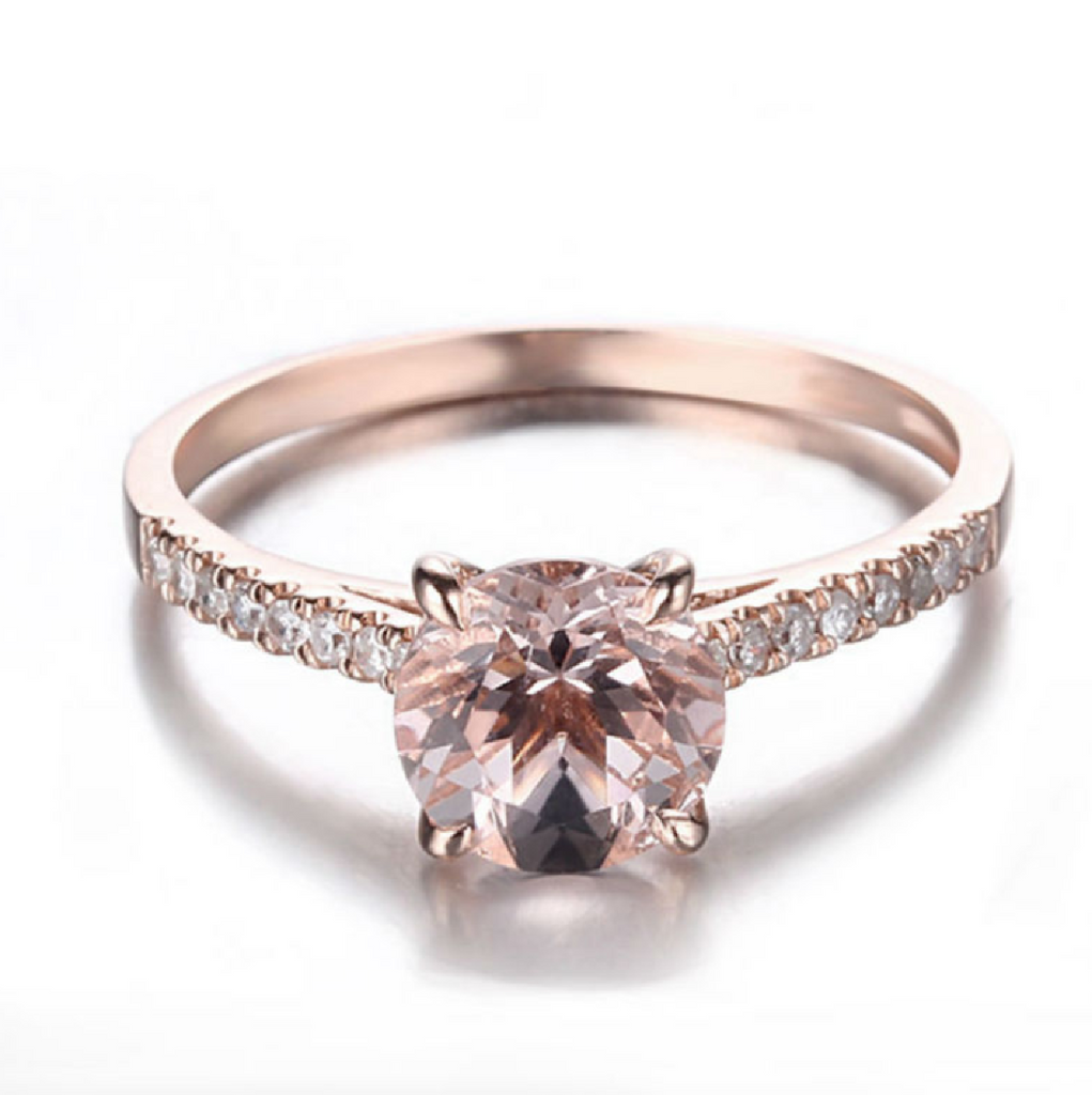 Classic Side-stone Custom Morganite 14K Rose Gold Engagement Ring