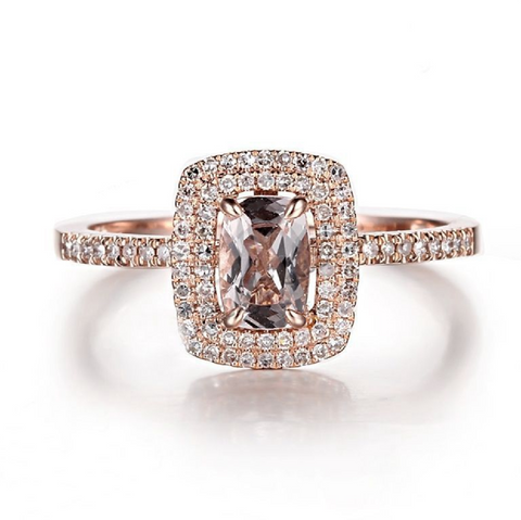 Modern Classic Double Halo Custom Morganite 14K Rose Gold Ring