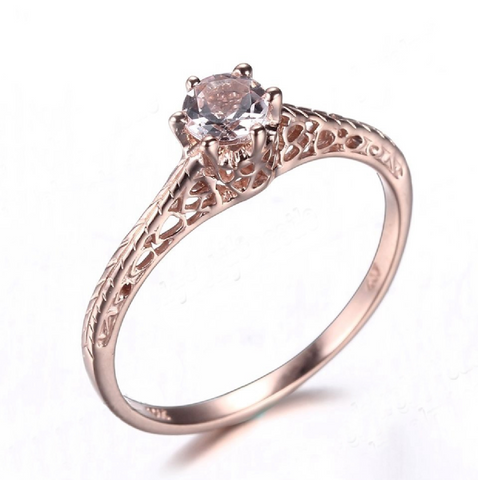 Art Deco Vintage Custom Morganite 14K Rose Gold Ring