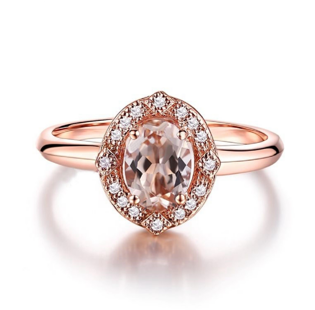Modern Vintage Custom Morganite 14K Rose Gold Ring