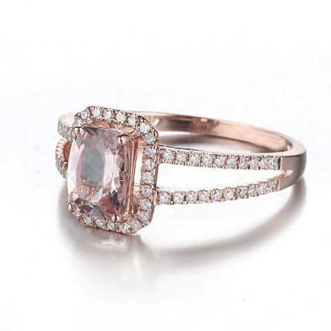 Halo Split Shank Custom Morganite 14K Rose Gold Ring
