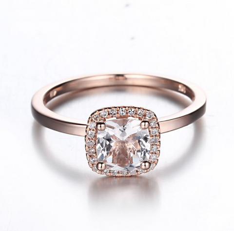 Modern Classic Custom Morganite 14K Rose Gold Ring