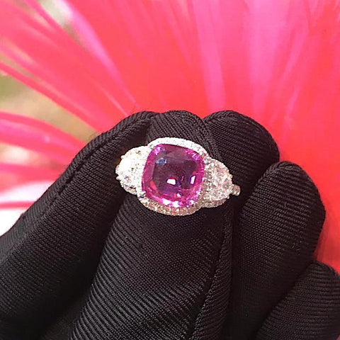 SOLD - Certified 3.55CT Cushion Cut Natural Heated Pink Sapphire Diamond Threestone Ring 18K White Gold