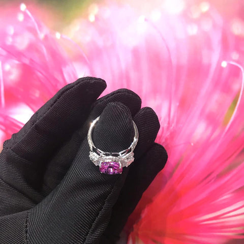 Certified 3.55CT Cushion Cut Natural Heated Pink Sapphire Diamond Threestone Ring 18K White Gold