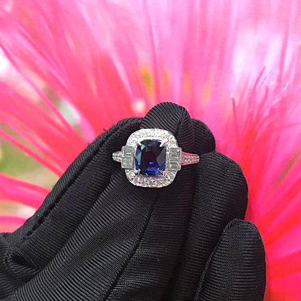 Certified 3.03CT Cushion Cut Royal Blue Sapphire Diamond Ring 18K White Gold
