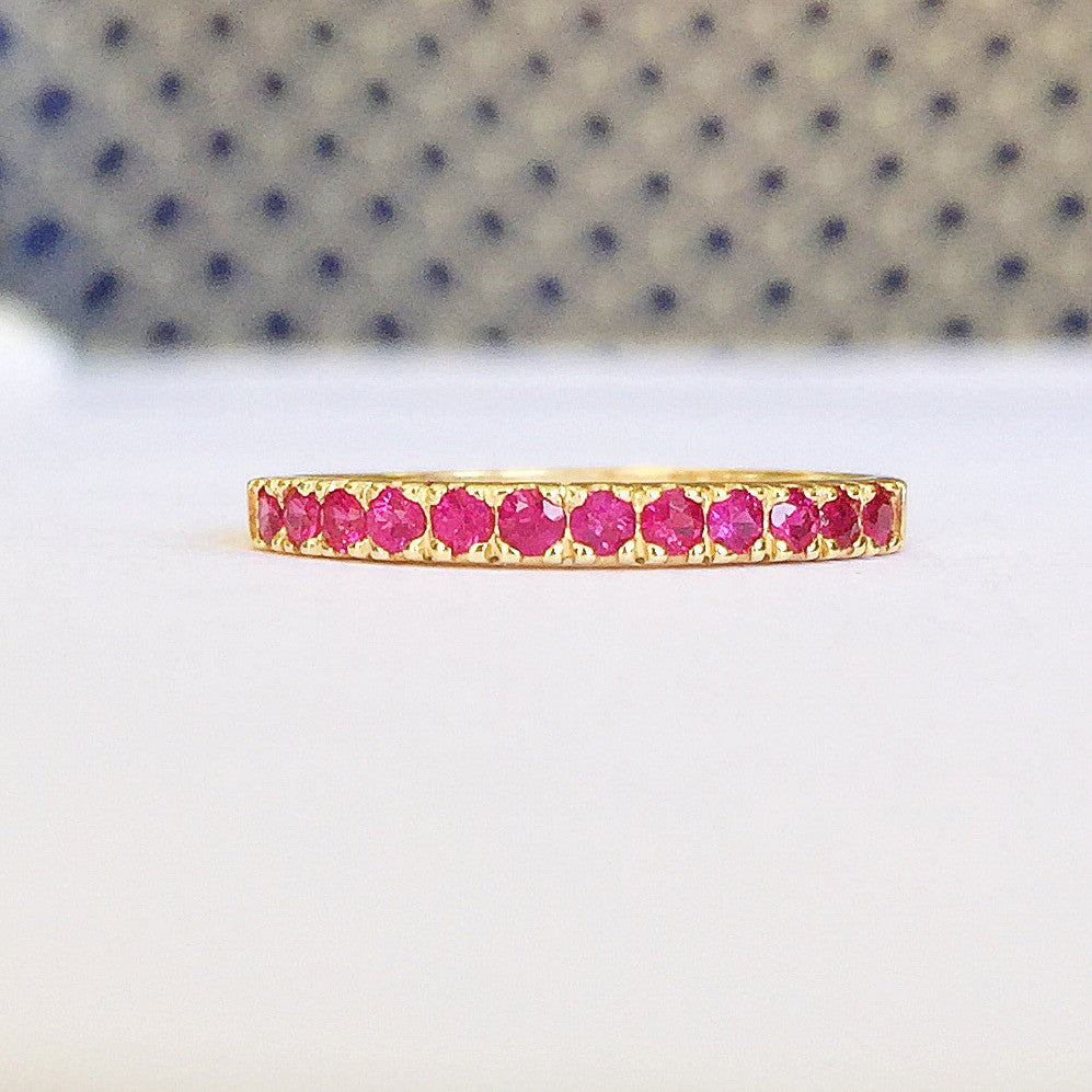 Wedding & Annivesary Natural Ruby Band 18K Gold