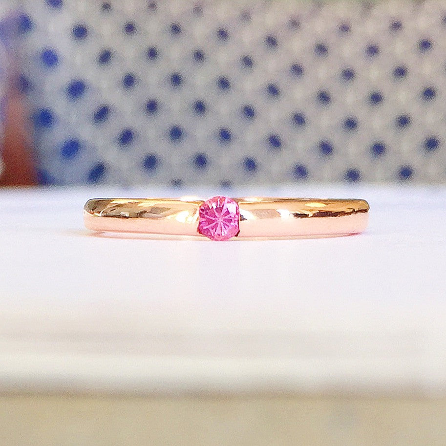 Stackable Natural Pink Sapphire Ring 18K Gold