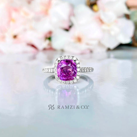 hot+pink+sapphire+halo+diamond+engagement+ring+white+gold