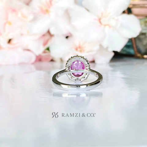 hot+pink+sapphire+diamond+halo+engagement+ring+white+gold