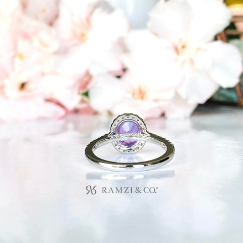 vivid+purple+violet+sapphire+halo+diamond+engagement+ring+white+gold