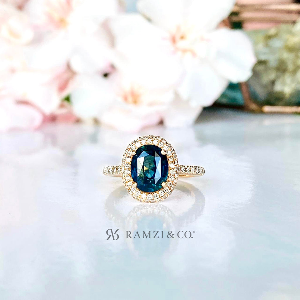 teal+bluish+green+parti+sapphire+halo+diamond+engagement+ring+rose+gold