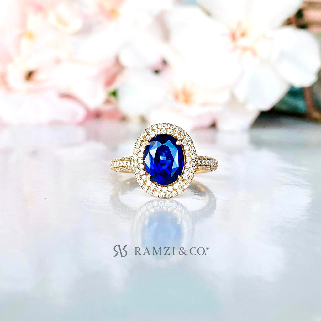 royal+blue+sapphire+halo+diamond+engagement+ring+rose+gold